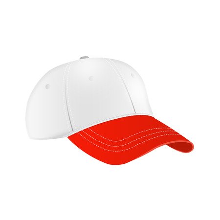 White and red  baseball cap template photo
