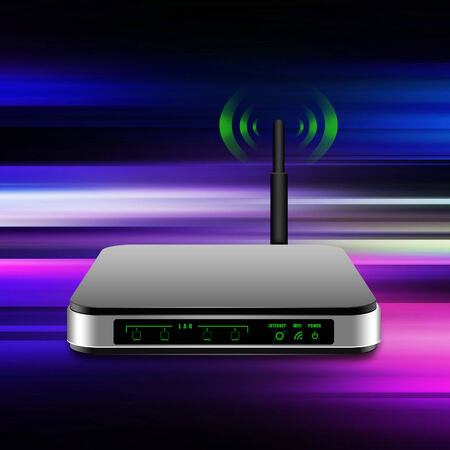 router: Wireless Router with the antenna illustration  on abstract  background