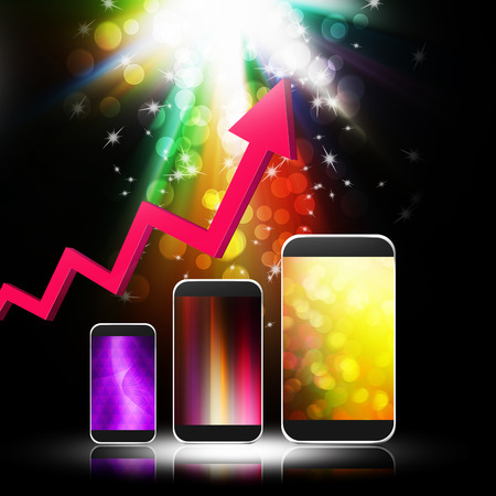 moble: Graph with  smartphone on abstract  background,cell phone illustration