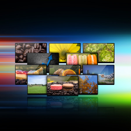 Television with globe internet production technology concept photo