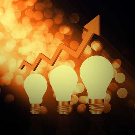 dea: I dea  light bulbs with graph   on  abstract background