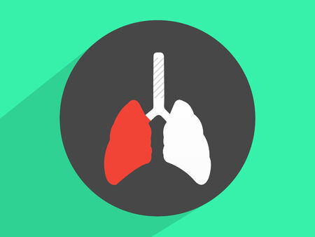 airway: Human lung that are dangerous ,Flat design style Stock Photo