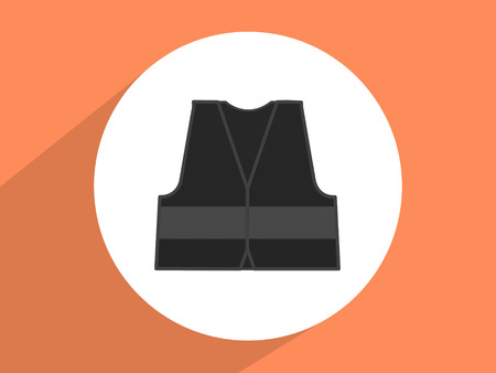 reflective vest: Reflective vest, mandatory use ,Flat design style