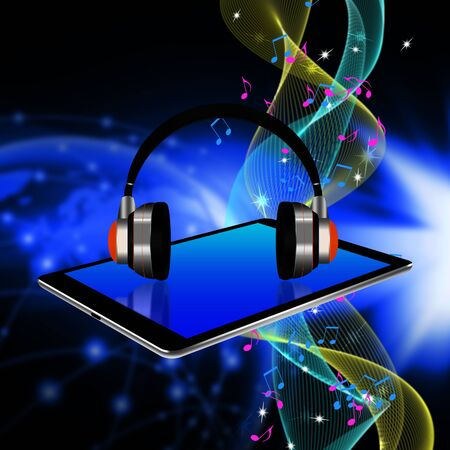 headphones on tablet ,tablet  illustration