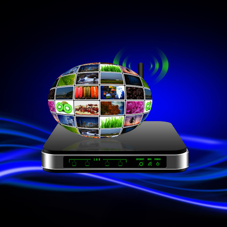 Wireless Router with internet production technology concept