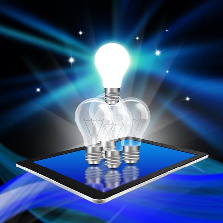 manos unidas: Trabajo en equipo con bombillas idea de luz en la tableta, ilustraci�n tableta