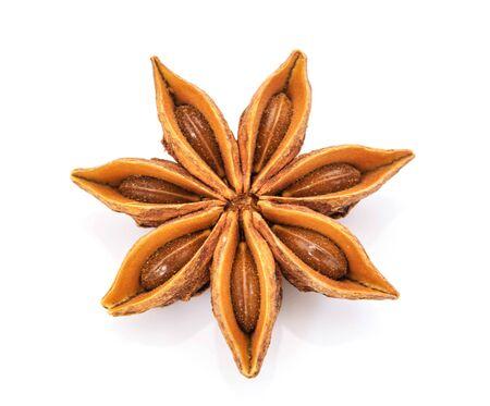 badiane: Star anise isolated on white background