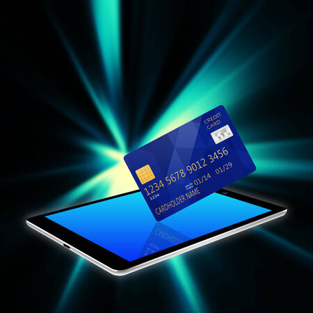 palmtop: creditcard with tablet,tablet phone illustration