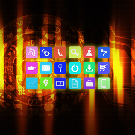 information median: Colorful application icon on  technology background Stock Photo