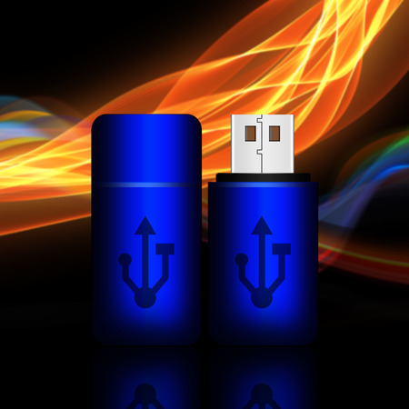 Blue universal flash drive on abstract background,flash drive illustration