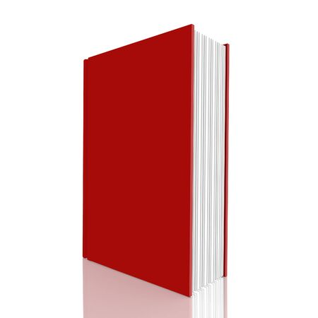 magazine stack: Red book on white background