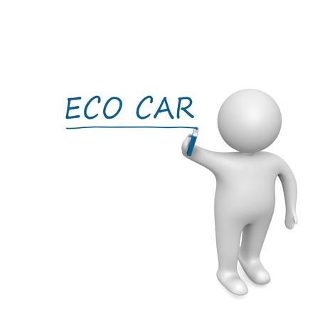 Eco car   drawn by a white man photo