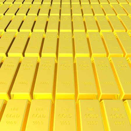 Rendering 3D di oro bar sfondo