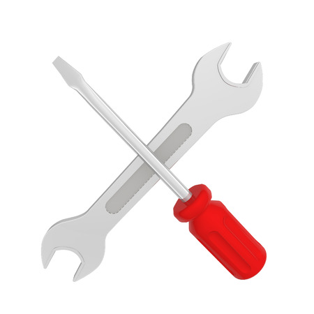 spanner  with, screwdriver on white background Stock Photo
