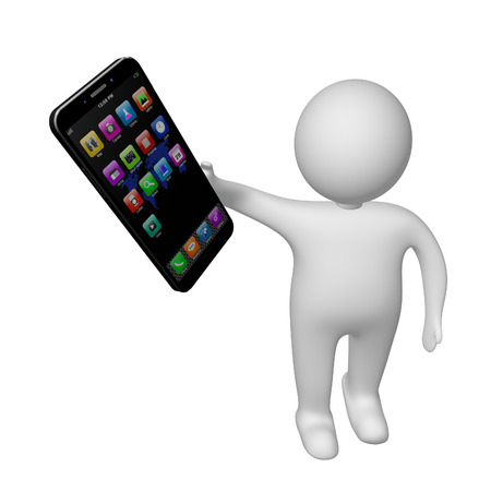 3d white man with mobile phone  on white background,cell phone illustration Stock Photo