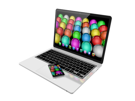 laptop screen: mobile phone on laptop with colorful screen on white background,laptop ,mobile ,illustration Stock Photo