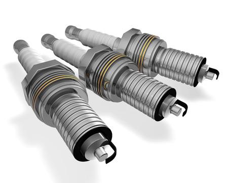three  spark plugs isolated on white background photo