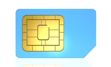 SIM card for mobile phone or smartphone isolated on white background