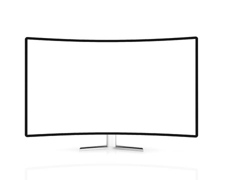 curved tv with blank screen  isolated on white background