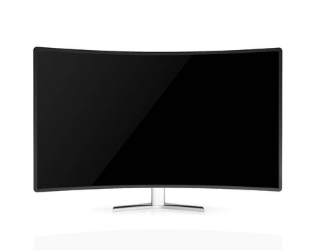 curved tv with black  screen  isolated on white background Reklamní fotografie - 37339168