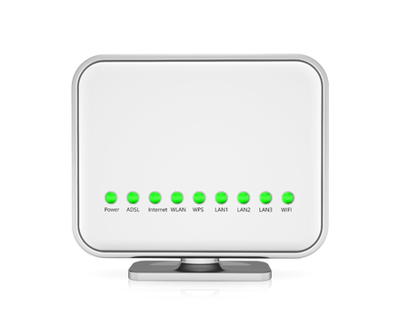 hub computer: Wireless router isolated on white background