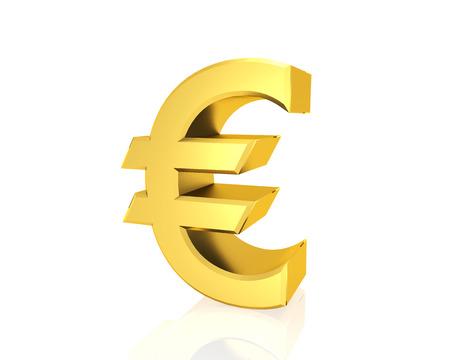 golden euro symbol isolated white background Stock Photo