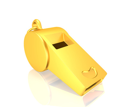 golden whistle   isolated on a white background