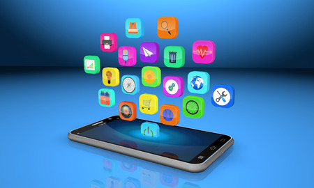 mobile phone with colorful application icons ,abstract  background