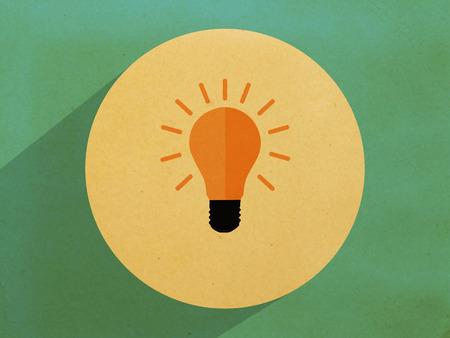 Vintage,light bulbt,Flat design style Stock Photo