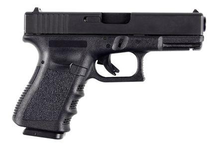 .40 caliber handgun. Isolated on white background.