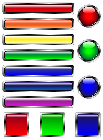 13 multicolored web buttons in circular, square, and bar shapes.
