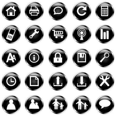 vector set of 25 black icons with shiny metal edge Vector