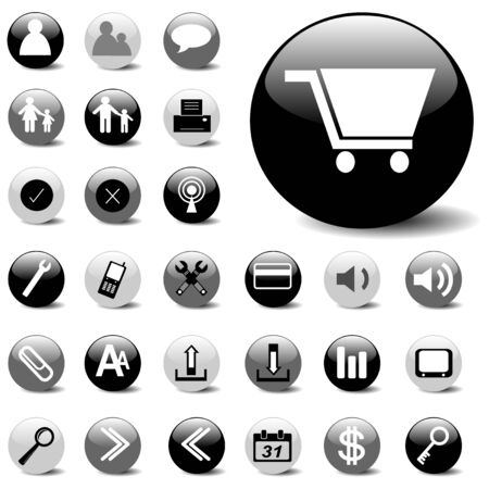 basic icon set on black, gray, and white buttons. 矢量图像