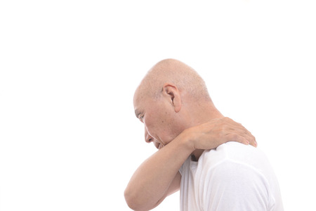 stil: Japanese senior with stiff shoulders