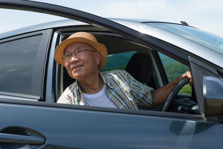 Senior Japanese enjoy the drive