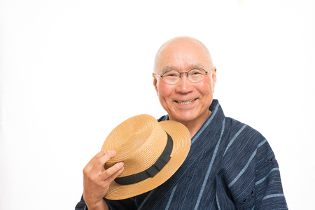 Japanese senior with a smile in jinbei