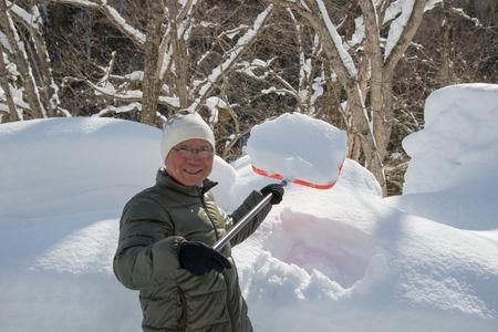 日本雪シニア 写真素材