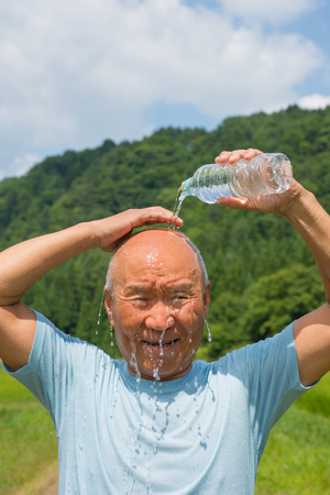 Japanese people bathe in the summer senior