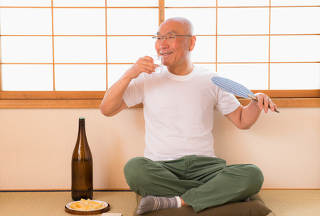 Drunk Japanese senior