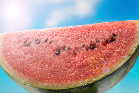 Watermelon and blue sky Stock Photo