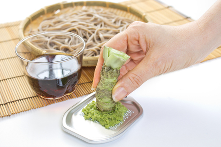Soba noodles with fresh Wasabi Stock Photo