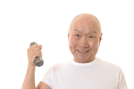 Senior Japanese muscle training with dumbbells