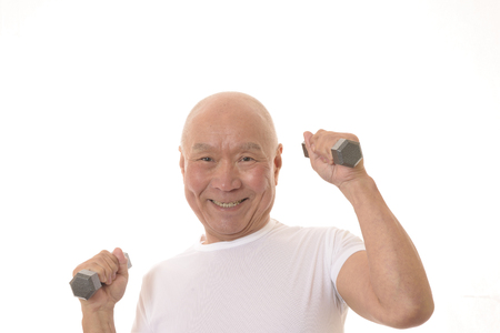 Senior Japanese muscle training with dumbbells