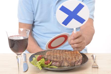 Steak avant la pancarte OUI NON
