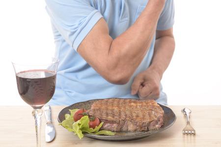 Healthy, eating steak.