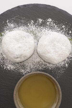 Daifuku mochi of Japanese sweets on a stone plate
