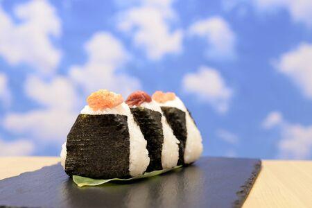 Blue sky and Japanese onigiri