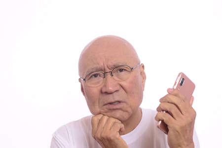 Smartphone beginner senior man suffers from operation