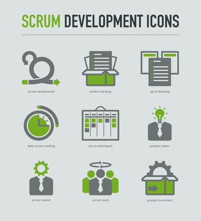 Scrum Development pictogrammen Stock Illustratie
