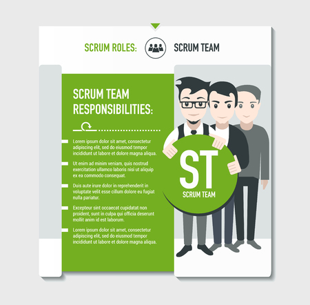 responsibilities: Scrum roles - Scrum team responsibilities template in scrum development process on light grey background Illustration
